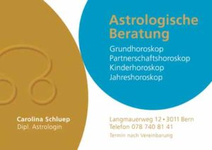 Visitenkarte Carolina Schluep Astrologie Bern